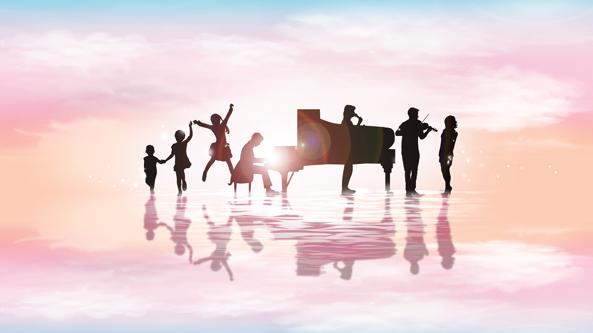 Children dancing next to a piano